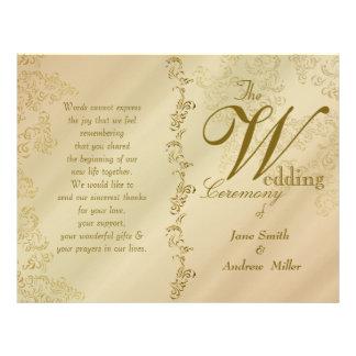 Beige Damask wedding programs 21.5 Cm X 28 Cm Flyer
