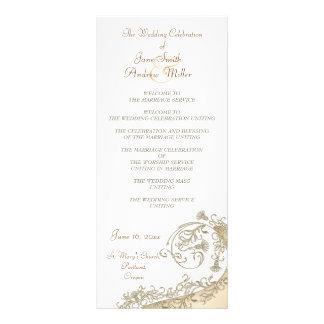 Beige Damask Wedding Programs Personalized Rack Card