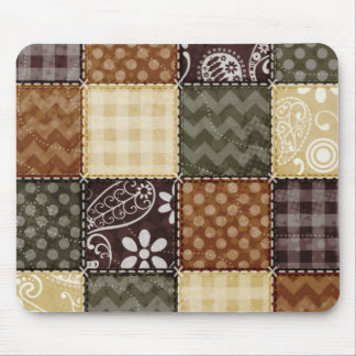 Beige, Dark Brown, and Olive Green Quilt look Mouse Mat