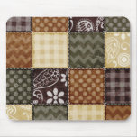 Beige, Dark Brown, and Olive Green Quilt look Mouse Mats
