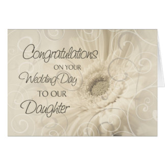 Beige Daughter Wedding Congratulations Card