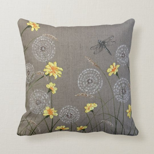 Beige Dragonfly and yellow floral cushion