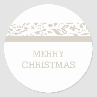 Beige Elegant Foliage Holiday Classic Round Sticker