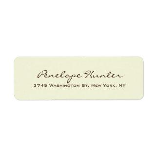Beige Elegant Stylish Trendy Handwriting Script Return Address Label