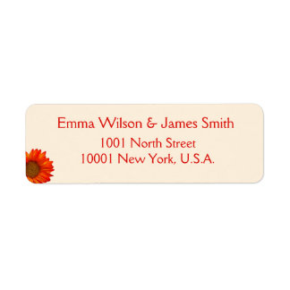 Beige Fall Personalized Address Labels Sunflower