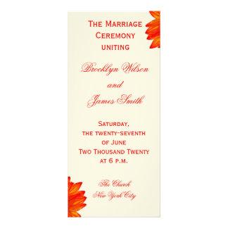 Beige Fall Wedding Ceremony Programs Sunflower Customised Rack Card
