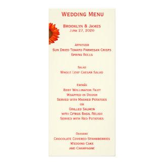 Beige Fall Wedding Menu Cards Sunflower Custom Rack Cards