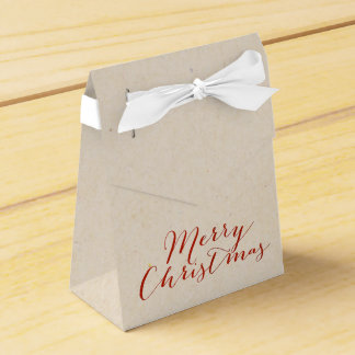 Beige Faux Cardboard Christmas Gift Bag Favour Box