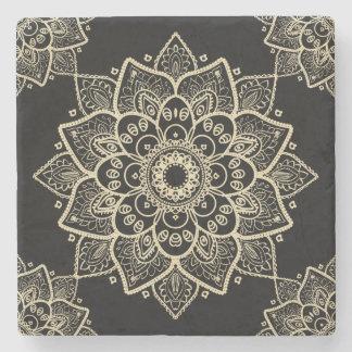 Beige Floral Mandala Over Black Background Stone Coaster