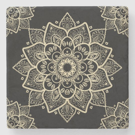 Beige Floral Mandala Over Black Background Stone Coaster