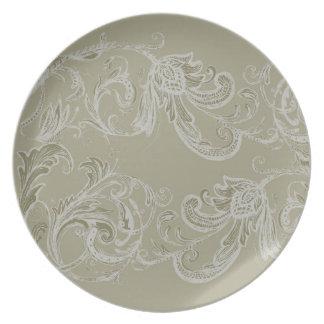 Beige Floral Melamine Plate (dark)