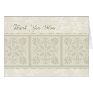 Beige Floral Mom Wedding Day Thank You Card
