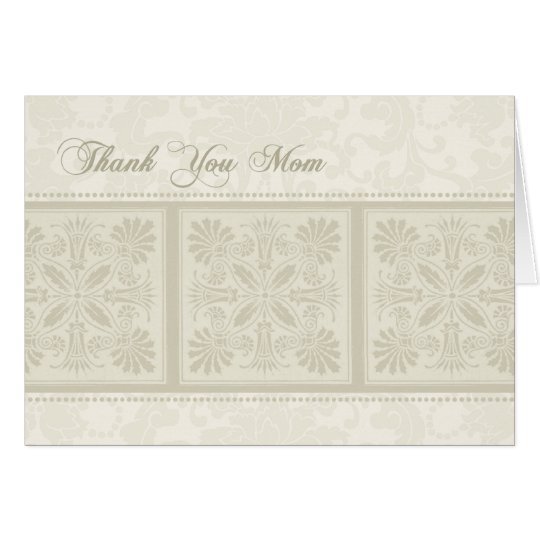Beige Floral Mum Wedding Day Thank You Card
