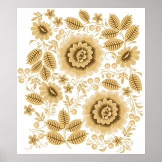 Beige Floral Pattern Poster