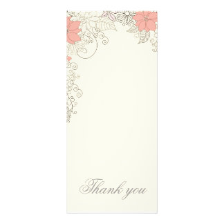 Beige floral Thank you card Personalised Rack Card