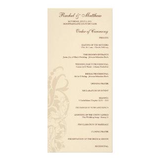 Beige Floral Wedding Program Custom Rack Card