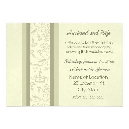 Beige Floral Wedding Vow Renewal Invitations 13 Cm X 18 Cm Invitation Card