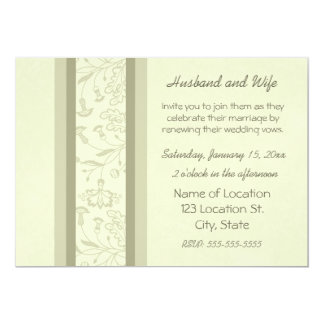Beige Floral Wedding Vow Renewal Invitations