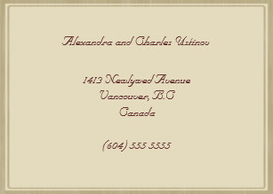 beige frame new address notification business card