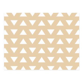 Beige Geometric Pattern with Triangles. Postcard