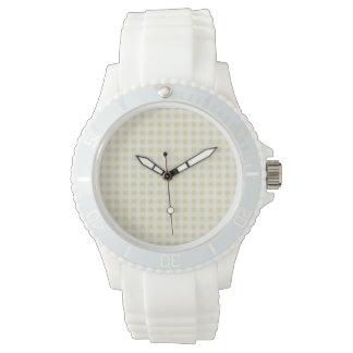 Beige Gingham; Checkered Wrist Watch
