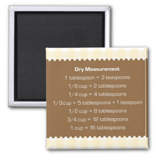 Beige gingham dry measure chart kitchen helper square magnet
