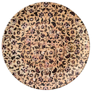 Beige Girly Floral Pattern  Plate