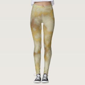 Beige & Gold Marble Leggings