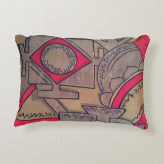 Beige, Gold & Red Astar Accent Pillow