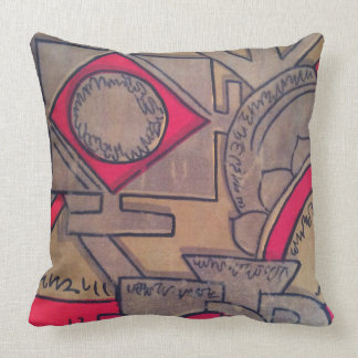 Beige, Gold & Red Astar Decorative Throw Pillow