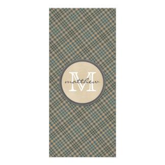 beige green plaid background monogram rack card design