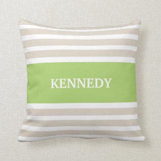 Beige Green Stripes Monogram Cushion