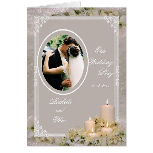 Wedding Invitation Candles: Beige Ivory Candle Wedding Invitation Photo Card