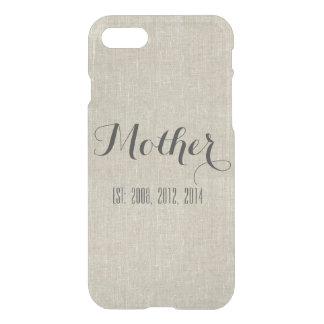 Beige Linen Custom Script Mother Personalized iPhone 7 Case
