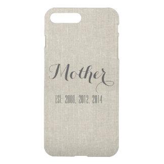 Beige Linen Custom Script Mother Personalized iPhone 7 Plus Case