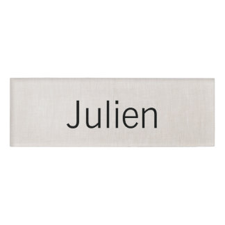Beige Linen Employee Staff Magnetic Name Tag Badge
