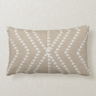 Beige Linen Look White  Arrows Pillow