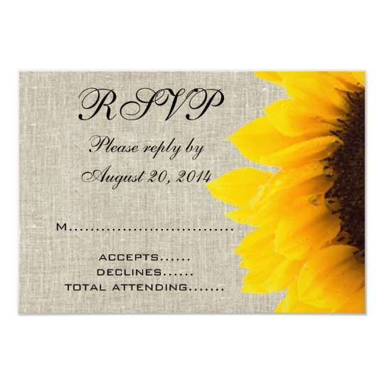 Beige Linen Sunflower Rustic Wedding RSVP Card