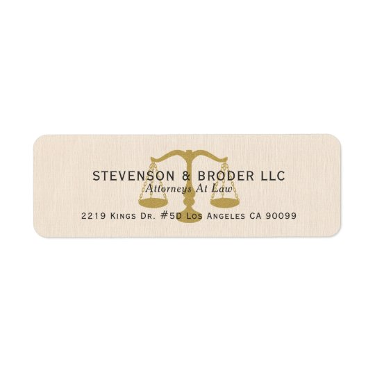 Beige Linen Texture & Gold Justice Scale Return Address Label