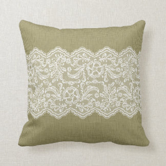 Beige Linen & Vintage White Lace Cushion