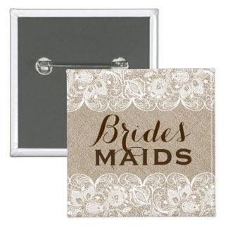Beige Linen & White Lace Bridesmaids Button 2