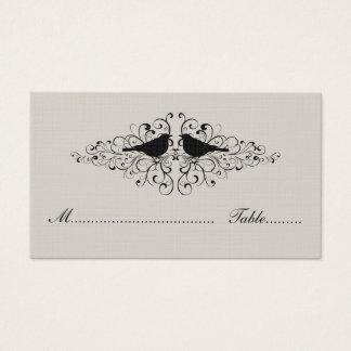 Beige Love Bird Swirls Place Card