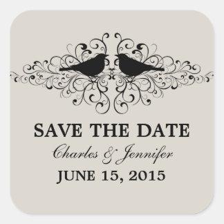 Beige Love Bird Swirls Save the Date Stickers