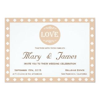 "BEIGE ""LOVE"" DESIGN & DIAMONDS (horizontal) 13 Cm X 18 Cm Invitation Card"