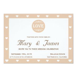 BEIGE LOVE MEDALLION & HEARTS (horizontal) 13 Cm X 18 Cm Invitation Card