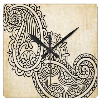 Beige Mehndi Motif Clock