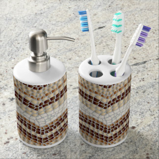 Beige Mosaic Bath Set