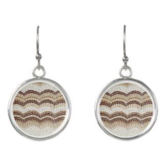 Beige Mosaic Drop Earrings