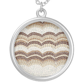 Beige Mosaic Large Round Necklace