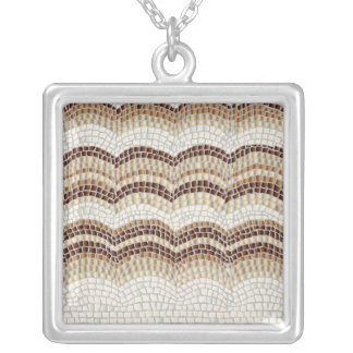Beige Mosaic Large Square Necklace